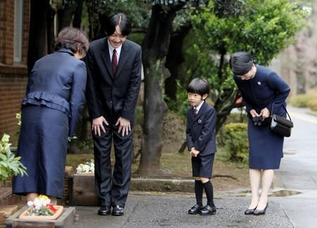 FILE PHOTO: Japan's Prince Hisahito is greeted upon arrival at Ochanomizu University's affiliated kindergarten in Tokyo