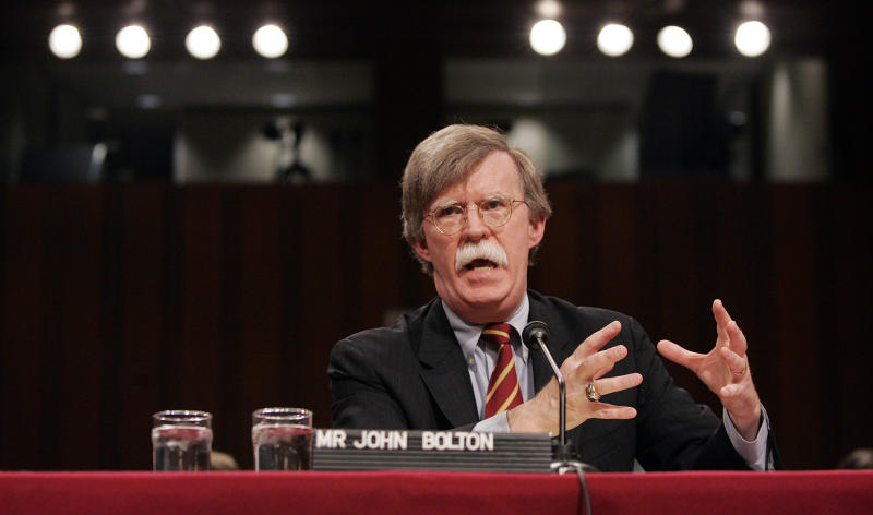 John Bolton, U.S. President George W. Bush's controversial choice for U.N. ambassador, testifies before the Senate Foreign Relations Committee on Capitol Hill, Monday, April 11, 2005, in Washington, D.C. (Photo: Chuck Kennedy/MCT/Tribune News Service via Getty Images)