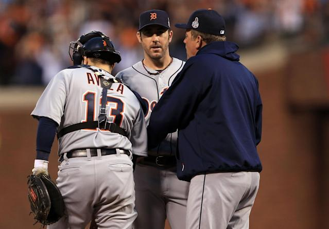 SAN FRANCISCO, CA - OCTOBER 24: (L-R) Alex Avila #13, Justin Verlander #35 and pitching coach Jeff Jones of the Detroit Tigers talk on the mound against the San Francisco Giants during Game One of the Major League Baseball World Series at AT&T Park on October 24, 2012 in San Francisco, California. (Photo by Doug Pensinger/Getty Images)
