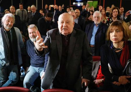 "Former Soviet President Mikhail Gorbachev (C, front) addresses the audience after the Russian premiere of the documentary film ""Meeting Gorbachev"" in Moscow, Russia November 8, 2018. REUTERS/Tatyana Makeyeva"