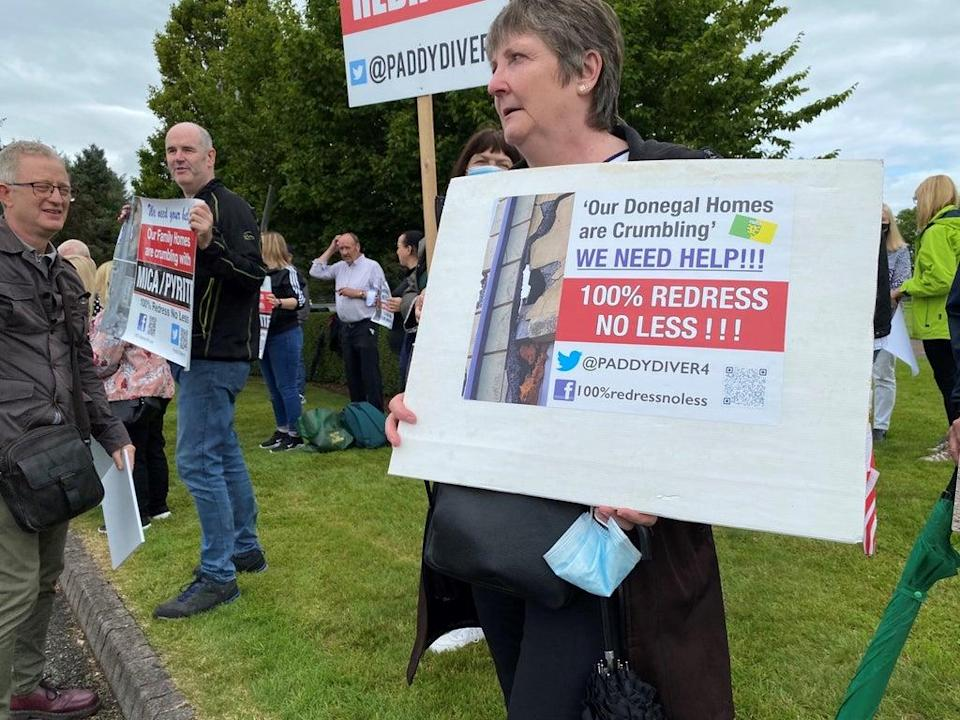 Protesters from Donegal gathered at the Fianna Fail think-in in Cavan last month, calling for 100% redress for home-owners affected by mica (Dominic McGrath/PA) (PA Wire)