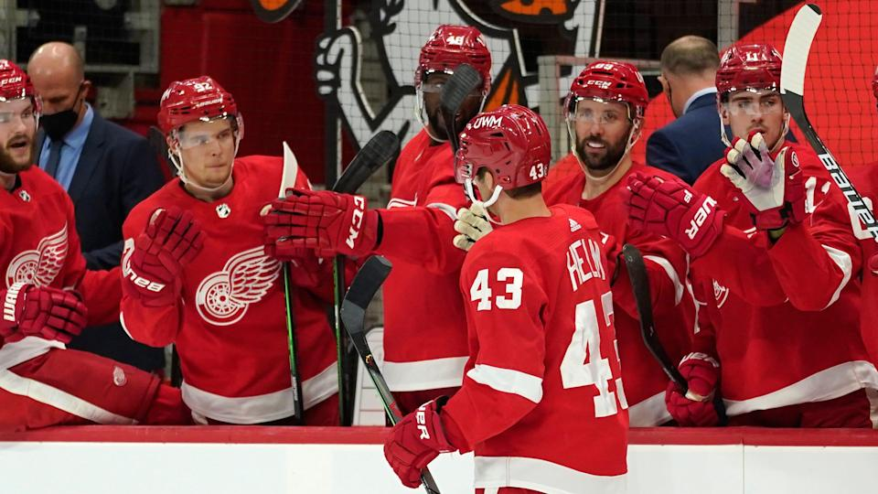 Detroit Red Wings left wing Darren Helm (43) celebrates his goal against the Nashville Predators in the second period at Little Caesars Arena in Detroit on Thursday, April 8, 2021.