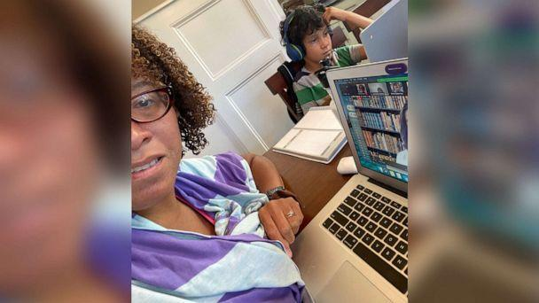 PHOTO: Tina Sherman works from home alongside her son, who is doing virtual learning. (Tina Sherman)