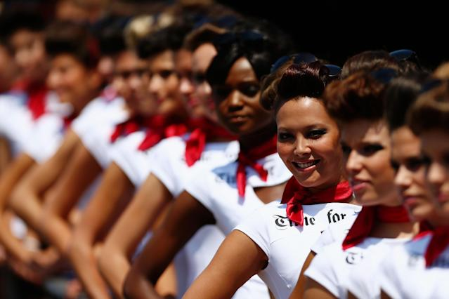 MONTE CARLO, MONACO - MAY 26: Grid girls line up at the entrance to the pitlane during qualifying for the Monaco Formula One Grand Prix at the Circuit de Monaco on May 26, 2012 in Monte Carlo, Monaco. (Photo by Paul Gilham/Getty Images)