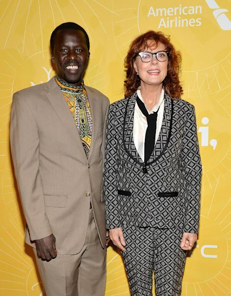 "Actress Susan Sarandon, right, and Hope North founder Okello Sam attend Variety's ""Power of Women: New York"" luncheon at Cipriani Midtown on Friday, April 25, 2014 in New York. (Photo by Evan Agostini/Invision/AP)"