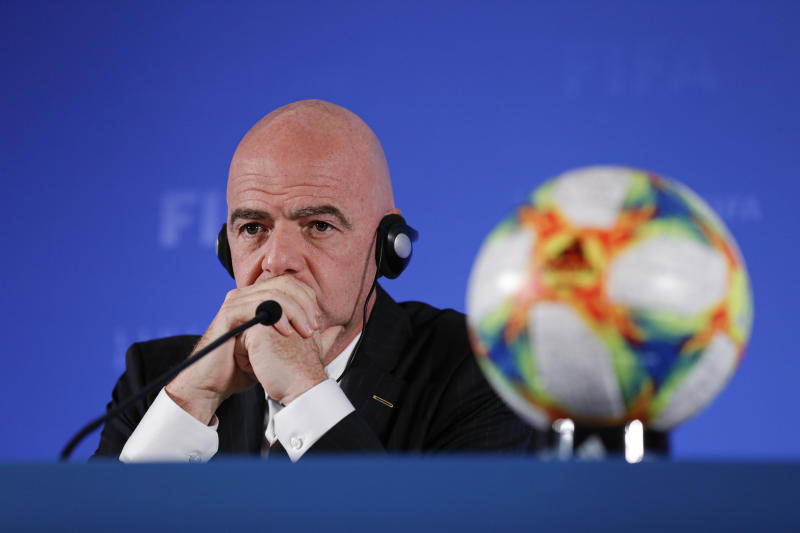 FIFA President Gianni Infantino defended the decision to host the Club World Cup during a media session in Shanghai, China. (Fred Lee - FIFA/FIFA via Getty Images)