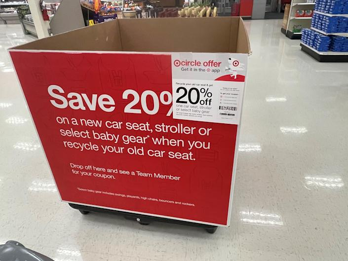 Target usually has car seat recycling events twice a year.