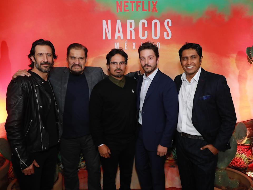 MEXICO CITY, MEXICO - OCTOBER 30: Jose Maria Yazpik, Joaquin Cosio, Michael Pena, Diego Luna and Tenoch Huerta pose during Netflix Narcos Cocktail Party at Four Seasons Hotel on October 30, 2018 in Mexico City, Mexico.  (Photo by Hector Vivas/Getty Images for Netflix)