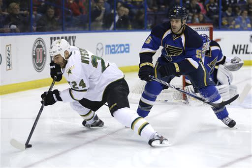 Dallas Stars' Eric Nystrom, left, reaches for a puck as St. Louis Blues' Barret Jackman watches during the first period of an NHL hockey game Friday, April 19, 2013, in St. Louis. (AP Photo/Jeff Roberson)