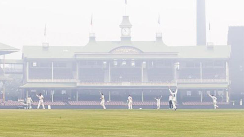 Players at the SCG out on the pitch celebrating in the bushfire smoke.