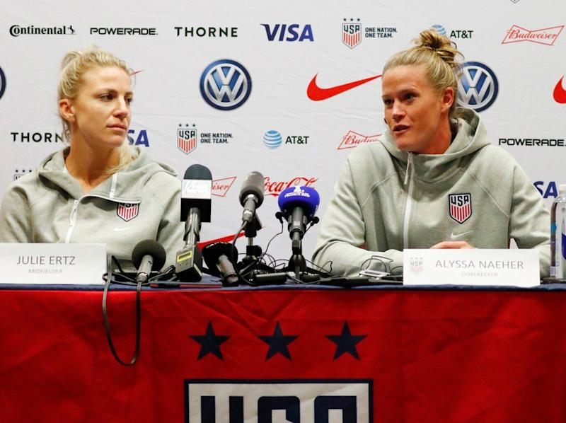 USWNT goalkeeper Alyssa Naeher, right, and midfielder Julie Ertz answered questions about Hope Solo's recent comments on Sunday. (Reuters)