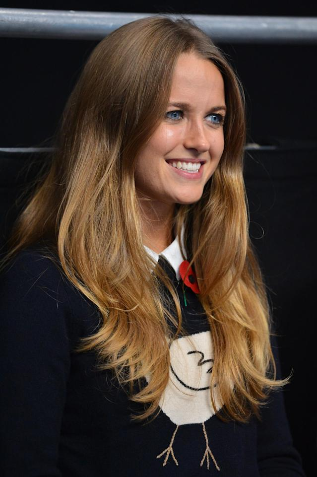 Kim Sears, girlfriend of Britain's Andy Murray, sits court-side at the start of Muray's group A singles match against France's Jo-Wilfried Tsonga in the round robin stage on the fifth day of the ATP World Tour Finals tennis tournament in London on November 9, 2012. AFP PHOTO / BEN STANSALLBEN STANSALL/AFP/Getty Images