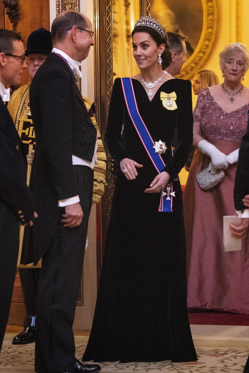 Catherine, Duchess of Cambridge at an evening reception for members of the Diplomatic Corps at Buckingham Palace on December 11, 2019 in London, England.(Photo by Victoria Jones - WPA Pool/Getty Images)