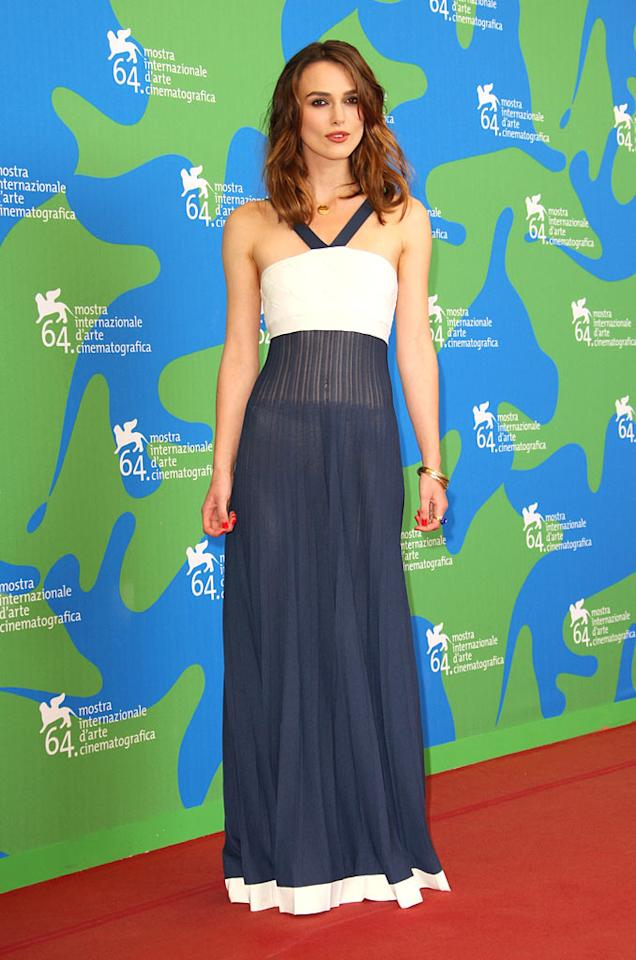 "Although she is a tad on the thin side, Keira Knightley is still a stunner at the Venice Film Festival in Italy. Jeff Vespa/a href=""http://www.wireimage.com"" target=""new"">WireImage.com - August 29, 2007"