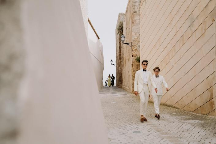 Our friends, Duncan Campbell and Luke Edward Hall, looking very dapper arriving to the Old Town of Ibiza.