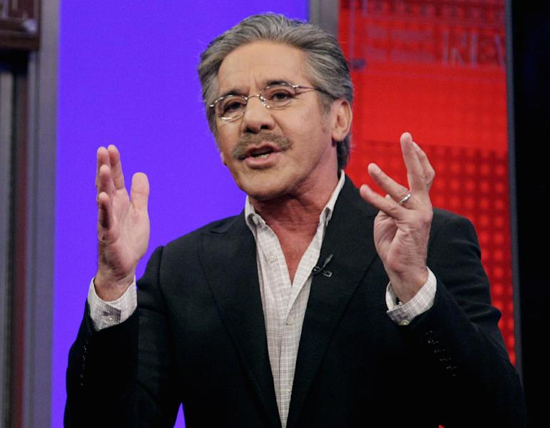 """FILE - In this June 25, 2010 file photo, Fox News Channel commentator Geraldo Rivera speaks on the """"Fox & friends"""" television program in New York. Duquesne (doo-KAYN') University says Geraldo Rivera isn't welcome to appear on a panel at the Pittsburgh school because of a half-naked """"selfie"""" he posted this summer. Duquesne says the cellphone picture the TV personality posted on Twitter in July 2013 was inappropriate and not in line with the school's values as a Catholic university. (AP Photo/Richard Drew, file)"""