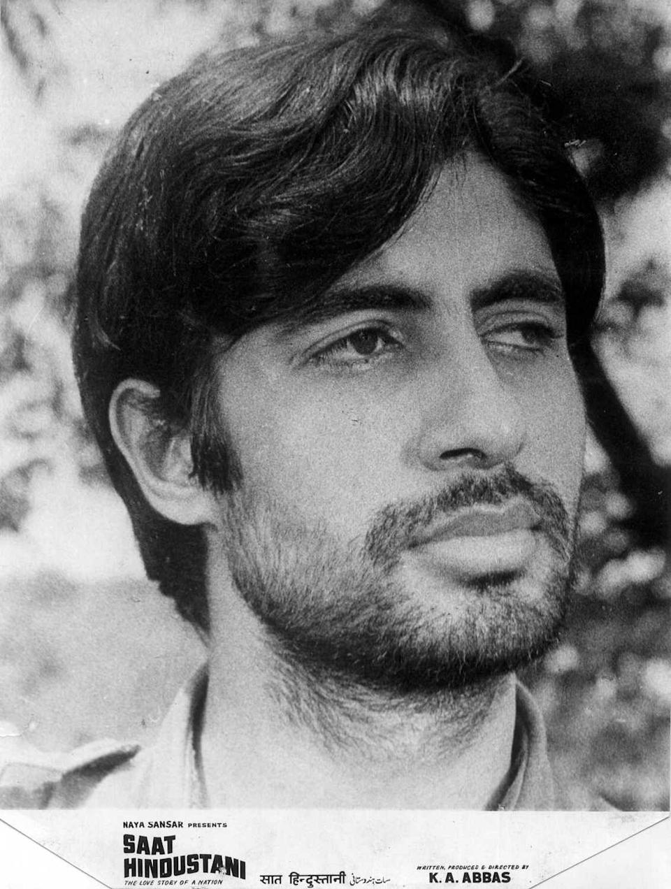 Amitabh Bachchan in a still from his first film <i>Saat Hindustani. </i>
