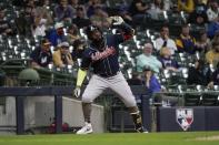 Atlanta Braves' Marcell Ozuna pauses at third after hitting a home run during the fifth inning of a baseball game against the Milwaukee Brewers Friday, May 14, 2021, in Milwaukee. (AP Photo/Morry Gash)