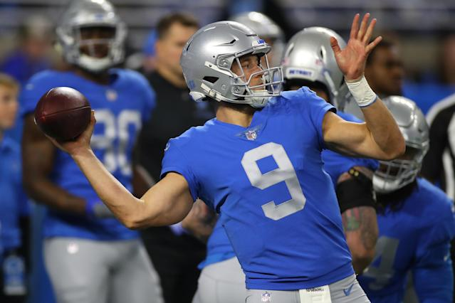 If I was Matthew Stafford here, I'd be pretty happy to be wearing this jersey. (Photo by Gregory Shamus/Getty Images)