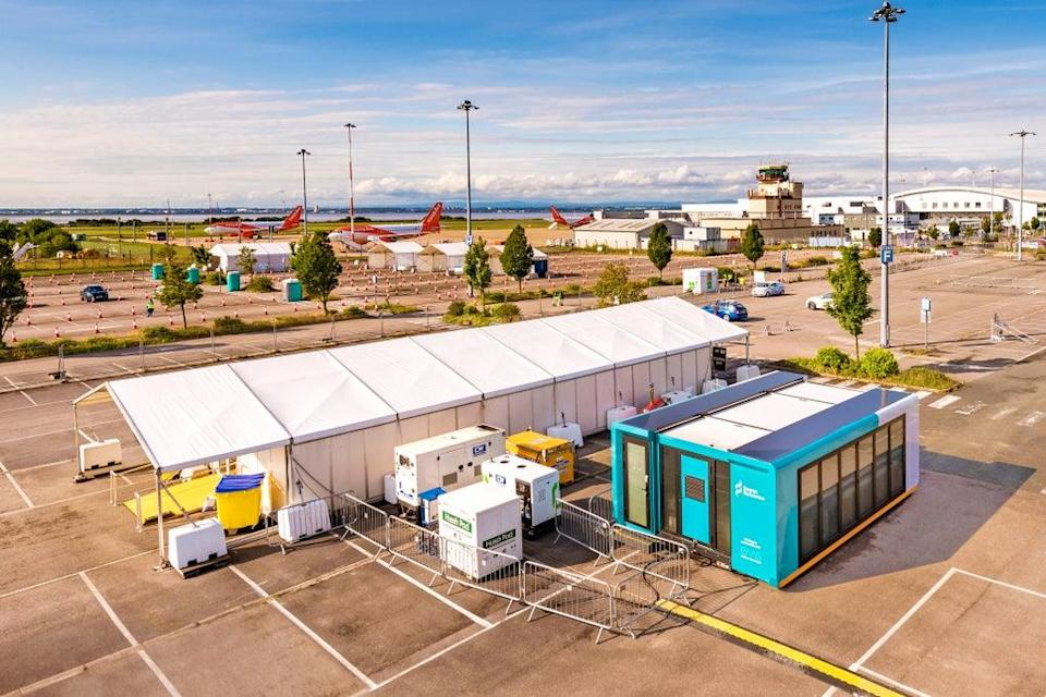 An aerial shot of the new testing facility at Liverpool's John Lennon Airport (Test Assurance Group Ltd/Salutaris People)