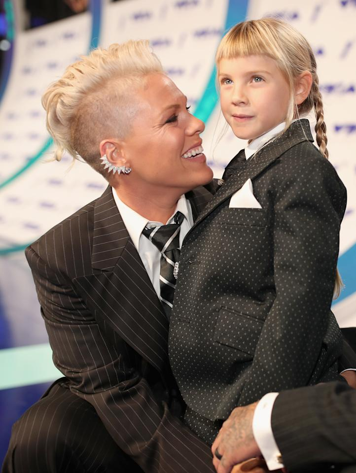 <p>Pink and her daughter twinned in matching tuxedos at this year's MTV Video Music Awards — and Pink also gave a passionate speech about teaching her daughter about self-love and acceptance. </p>