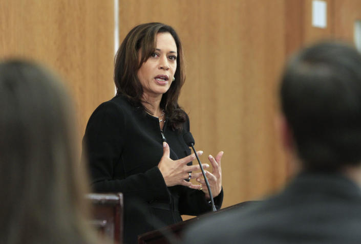 Kamala Harris, then San Francisco district attorney, at a campaign debate in 2010. (Rich Pedroncelli/AP)
