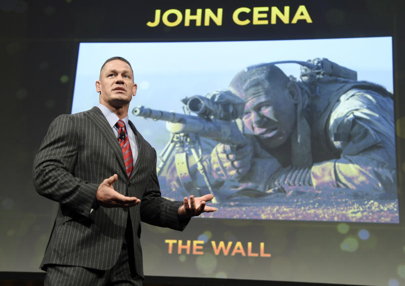 """John Cena, a cast member in the upcoming film """"The Wall,"""" discusses the film during the Amazon Studios presentation at CinemaCon 2017 at Caesars Palace on Thursday, March 30, 2017, in Las Vegas. (Photo by Chris Pizzello/Invision/AP)"""