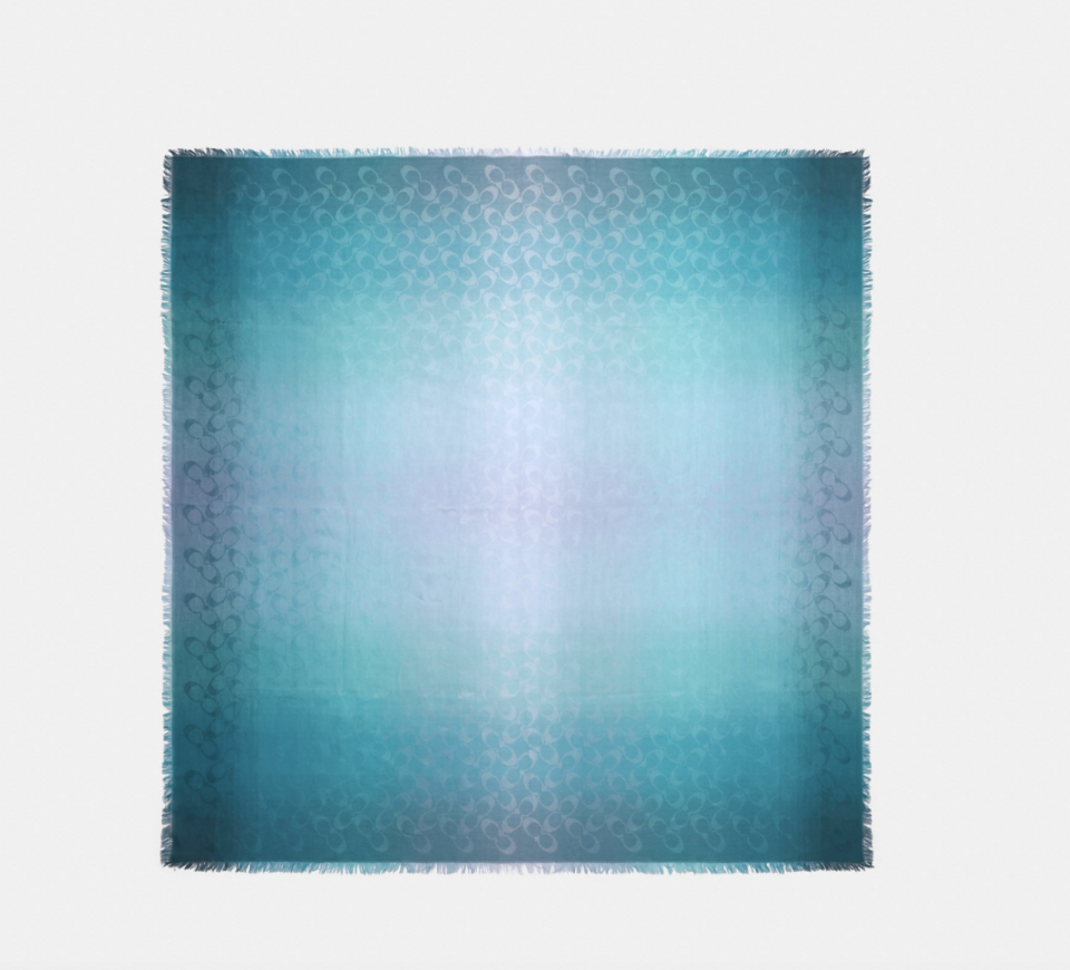 coach outlet Signature Ombre Oversized Square Scarf in Teal