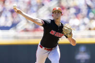 North Carolina State starting pitcher Reid Johnston (29) throws against Stanford in the first inning in the opening baseball game of the College World Series, Saturday, June 19, 2021, at TD Ameritrade Park in Omaha, Neb. (AP Photo/Rebecca S. Gratz)