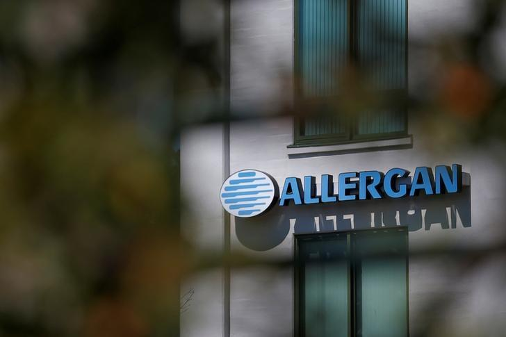 FILE PHOTO: A sign marks Allergan's offices in Medford