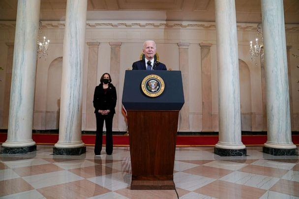 PHOTO: President Joe Biden, accompanied by Vice President Kamala Harris, speaks, April 20, 2021, at the White House, after former Minneapolis police Officer Derek Chauvin was convicted of murder and manslaughter in the death of George Floyd.  (Evan Vucci/AP)