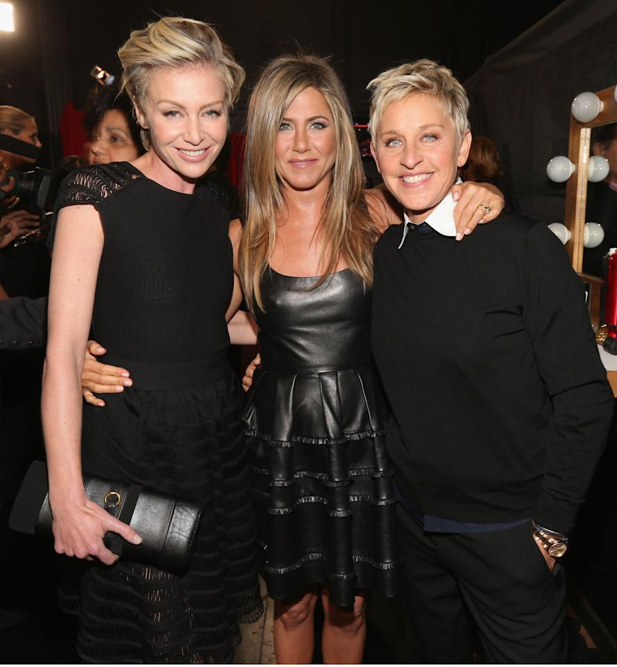 """<p>You know Aniston is tight with a couple when the tabloids suggest that one of them feels <a rel=""""nofollow"""" href=""""http://www.inquisitr.com/1411156/portia-de-rossi-divorce-ellen-degeneres-wife-leaning-on-jennifer-aniston-for-support/"""">""""threatened"""" by just how close</a> Aniston has become to one of them. Rumors notwithstanding, it's obvious Aniston has an affinity for DeGeneres every time she appears on <i>The Ellen DeGeneres Show</i>. That's because the private actress has been known to spill her secrets on the show, including the fact that she is a member of the Mile High Club! (Photo: Christopher Polk/Getty Images for PCA) </p>"""