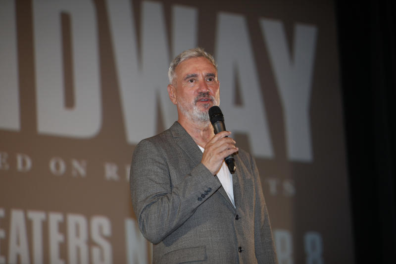 "Roland Emmerich speaks before the ""Midway"" screening at Joint Base Pearl Harbor-Hickam on October 20, 2019. (Photo by Marco Garcia/Getty Images for Lionsgate Entertainment)"