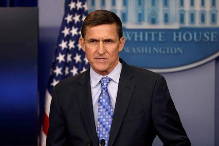 FILE PHOTO: White House National Security Advisor Michael Flynn speaks at the White House in Washington
