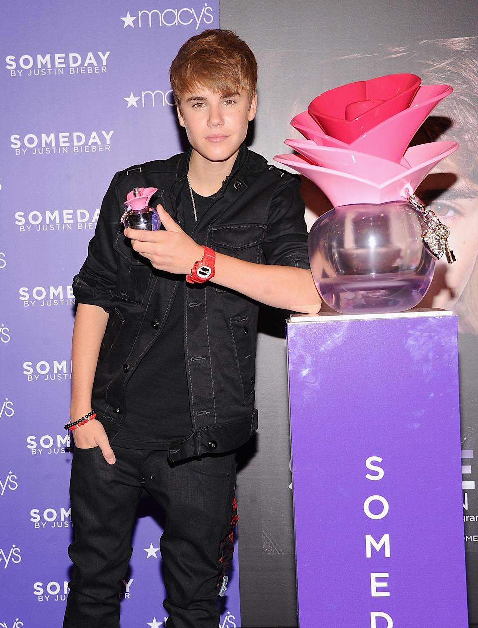 """<p>The pop sensation made the most of his young success, launching his first fragrance, Someday, in 2011. It made <a href=""""http://wwd.com/beauty-industry-news/fragrance/biebers-someday-scent-shatters-sales-records-3721517/"""" rel=""""nofollow noopener"""" target=""""_blank"""" data-ylk=""""slk:over £2 million in sales"""" class=""""link rapid-noclick-resp"""">over £2 million in sales</a> in just under three weeks at Macy's, making it a complete success. Since then, Bieber's released three more perfumes for his female fans: Girlfriend, The Key and Justin Bieber's Collector's Edition.<br><i>[Photo: Getty]</i> </p>"""