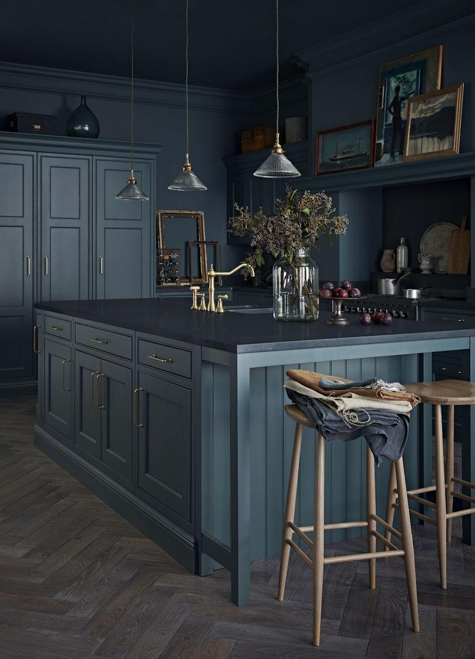"""<p>'Although a practical choice for kitchens, an island should be considered carefully before the final design is chosen,' explains Ben Burbidge, Managing Director at Burbridge Kitchen Makers. </p><p>'You should look to maximise the internal and worktop space but don't be tempted to make the overall dimensions too big as it could dominate or restrict movement around the kitchen. If you want to include appliances or sinks make sure you can accommodate the required plumbing or electrics.'</p><p>• 'Somerton' kitchen in baltic green and brushed brass from <a href=""""https://burbidgekitchenmakers.co.uk/"""" rel=""""nofollow noopener"""" target=""""_blank"""" data-ylk=""""slk:Burbridge Kitchen Makers"""" class=""""link rapid-noclick-resp"""">Burbridge Kitchen Makers</a> </p>"""