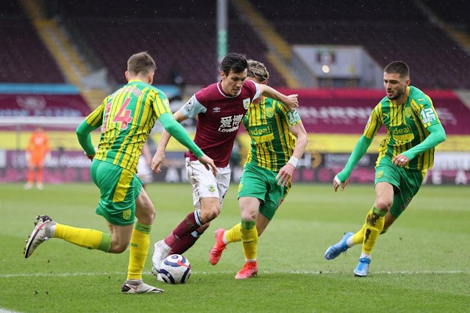Jack Cork of Burnley is challenged by Conor Townsend, Conor Gallagher and Okay Yokuslu (Getty)