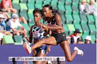 """<p><strong>Sport: </strong>Track & Field</p><p>Delilah <a href=""""https://www.nbcolympics.com/news/sydney-mclaughlin-goes-sub-52-breaks-dalilah-muhammads-400m-hurdles-world-record"""" rel=""""nofollow noopener"""" target=""""_blank"""" data-ylk=""""slk:held two world record times"""" class=""""link rapid-noclick-resp"""">held two world record times</a> in the 400m—her fastest being 52.16 seconds—before McLaughlin broke it at the 2021 Olympic trials. Their storied face-off at Tokyo is sure to be a headliner and marks Muhammad's second Games. She won gold in the 400m hurdles at Rio.</p>"""