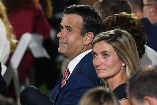 PHOTO: John Ratcliffe, Director of National Intelligence, waits to hear the President Trump during the final day of the Republican National Convention from the South Lawn of the White House on Aug. 27, 2020, in Washington. (Saul Loeb/AFP via Getty Images)