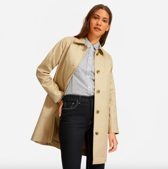 The Mac Coat in Khaki. Image via Everlane.