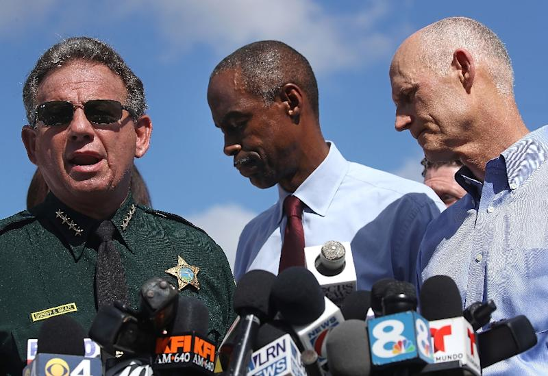 Scott Israel, seen here at a press conference in the aftermath of the February 2018 Parkland school shooting accused Governor Ron De Santis of having political motives