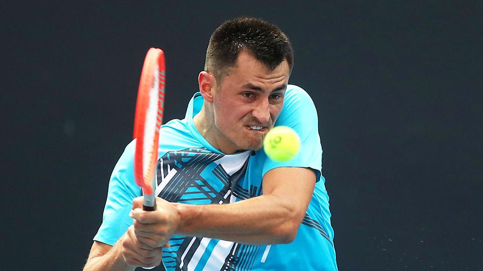 Bernard Tomic is seen here in action during the first round of the Australian Open.
