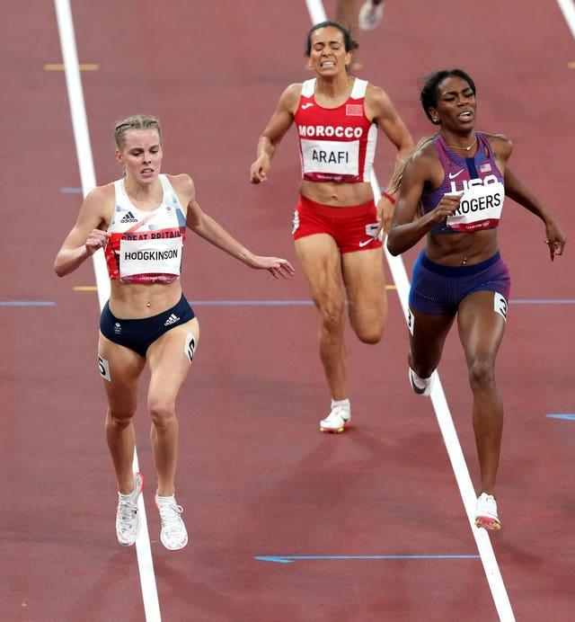 Great Britain's Keely Hodgkinson (left) in action during the third semi final of the Women's 800 metres at the Olympic Stadium in Tokyo