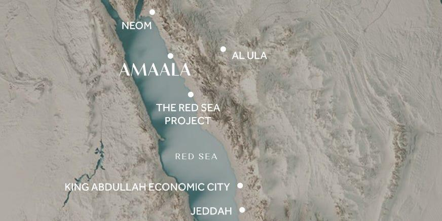 """The locations of Neom, Amaala, and The Red Sea Project seen on a map of western Saudi Arabia. <p class=""""copyright"""">Saudi Centre for International Communication</p>"""