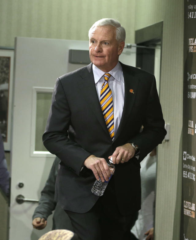 "Cleveland Browns owner Jimmy Haslam enters a news conference on the firing of head coach Rob Chudzinski at the Browns training facility Monday, Dec. 30, 2013, in Berea, Ohio. Haslam admitted hiring Chudzinski was a failure and vowed to ""get it right"" when he hires his next coach. (AP Photo/Tony Dejak)"