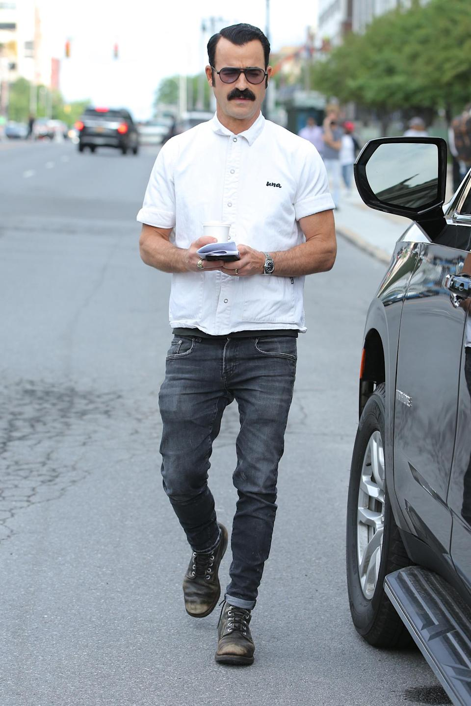 <p>Justin Theroux heads to the Albany, New York, set of his new project <em>The White House Plumbers</em> on June 18.</p>