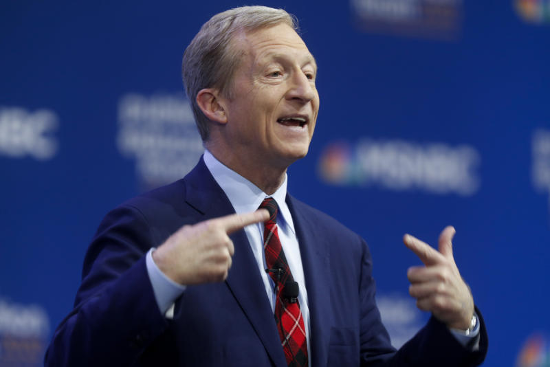 Democratic presidential candidate, investor Tom Steyer, one of seven scheduled Democratic candidates participating in a public education forum, makes opening remarks, Saturday, Dec. 14, 2019, in Pittsburgh. Topics at the event planned for discussion ranged from student services and special education to education equity and justice issues. (AP Photo/Keith Srakocic)
