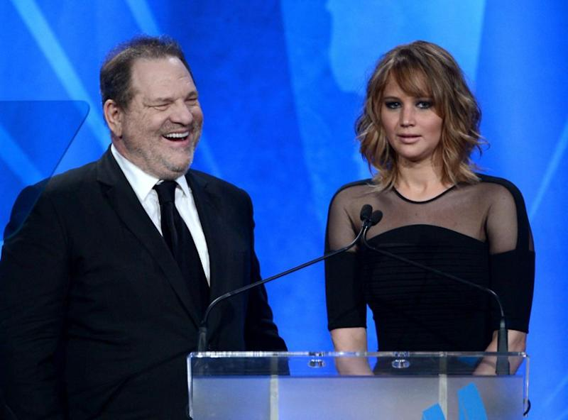 Jennifer Lawrence has blasted Harvey Weinstein for naming her in his legal defence. The pair are pictured here together in 2013. Source: Getty