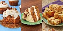 """<p>Carrot cake anything and we're pretty much sold. Whether that's <a href=""""https://www.delish.com/uk/cooking/recipes/a28784092/carrot-cake-cupcakes-recipe/"""" rel=""""nofollow noopener"""" target=""""_blank"""" data-ylk=""""slk:Carrot Cake Cupcakes"""" class=""""link rapid-noclick-resp"""">Carrot Cake Cupcakes</a>, <a href=""""https://www.delish.com/uk/cooking/recipes/a31190492/carrot-cake-blondies/"""" rel=""""nofollow noopener"""" target=""""_blank"""" data-ylk=""""slk:Carrot Cake Blondies"""" class=""""link rapid-noclick-resp"""">Carrot Cake Blondies</a> or even <a href=""""https://www.delish.com/uk/cooking/recipes/a33519192/keto-carrot-cake-balls-recipe/"""" rel=""""nofollow noopener"""" target=""""_blank"""" data-ylk=""""slk:Carrot Cake Balls"""" class=""""link rapid-noclick-resp"""">Carrot Cake Balls</a> (you heard me), we're obsessed with those sweet, carrot-y flavours. It makes the best dessert, and also tastes delicious alongside a hot cuppa. So, if you fancy baking up a carrot storm this weekend, check out our favourite carrot cake recipes now. </p>"""