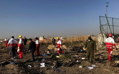 <span>The plane crashed about eight minutes after taking off</span> <span>Credit: Nazanin Tabatabaee/WANA </span>